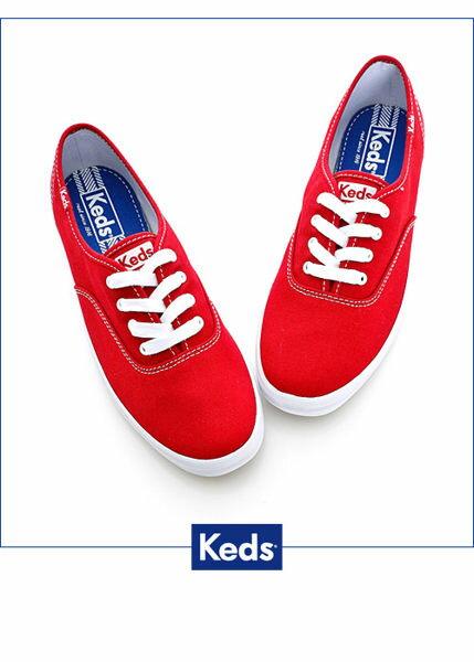 Keds 品牌經典休閒鞋-紅(限量) 套入式│懶人鞋│平底鞋│綁帶 1