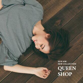 Queen Shop【01083032】荷葉袖細條紋洋裝 *現貨+預購*
