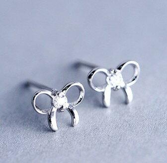 純銀鋯石鏤空蝴蝶結耳環