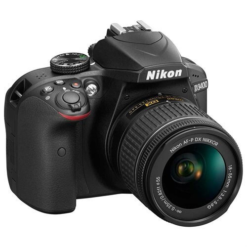 "Nikon D3400 24.2 Megapixel Digital SLR Camera with Lens - 18 mm - 55 mm - Black - 3"" LCD - 16:9 - 3.1x Optical Zoom - Optical (IS) - TTL - 6000 x 4000 Image - 1920 x 1080 Video - HDMI - HD Movie Mode - Wireless LAN 3"