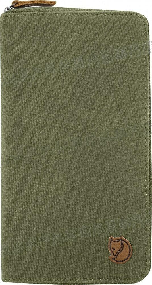 Fjallraven 瑞典北極狐 Travel Wallet 旅遊護照包/復古拉鍊皮夾/旅遊錢包/收納包 24219-620 綠