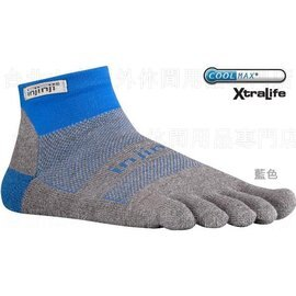 [ Injinji ] RUN 避震吸排五指短襪/五指襪/跑步襪/吸濕排汗 Coolmax 吸震加厚版 藍色