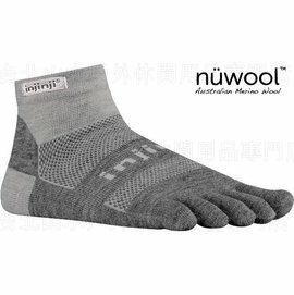 [ Injinji ] RUN 避震吸排五指羊毛短襪/吸濕排汗跑步襪 Nuwool 美麗諾羊毛吸震加厚版 深灰