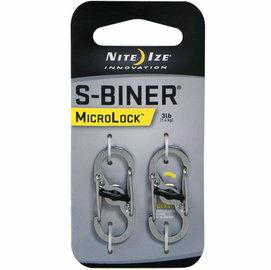 NITE IZE LSBM-11-2R3 (不鏽鋼色) S-Biner 迷你 帶鎖 S型雙面金屬扣環 二入組