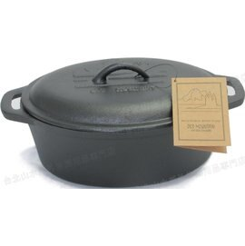 [ Old Mountain ] 橢圓雙耳淺鍋/鑄鐵鍋/荷蘭鍋 10.5吋 10118 美國 Casserole