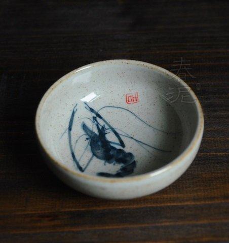 粗陶手繪大茶杯靈蝦 功夫茶杯 陶瓷茶杯 【春泥陶藝】