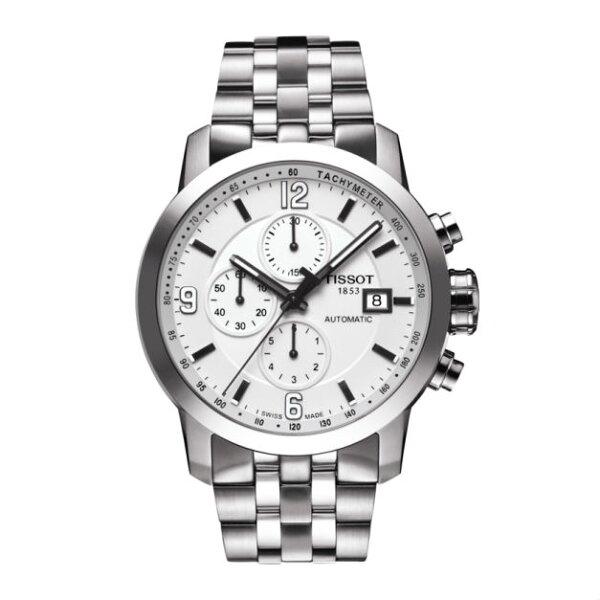 TISSOT天梭錶T0554271101700三眼經典計時機械錶黑面43mm