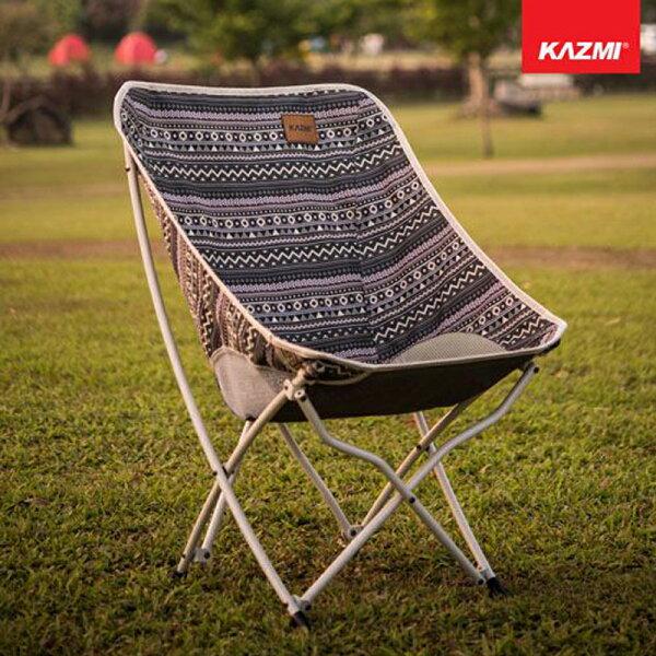 【露營趣】KAZMIK8T3C003GR彩繪民族風懶人折疊椅(藍灰色)摺疊椅休閒椅月亮椅童軍椅釣魚椅