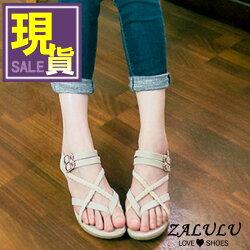 zalulu愛鞋館 519現貨  MIT春夏浪漫新款/編織風綁帶夾腳低跟涼鞋-米色38