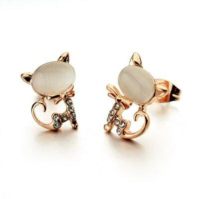 玫瑰金耳環925純銀鑲鑽耳飾~高貴優雅貓咪 生日情人節 女飾品2色73gs51~ ~~米蘭