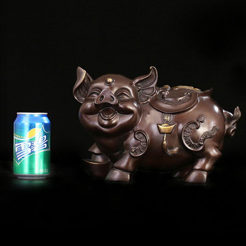 匠澤銅魂 純銅豬擺件生肖豬風水工藝品大號生肖豬家居裝飾品禮品