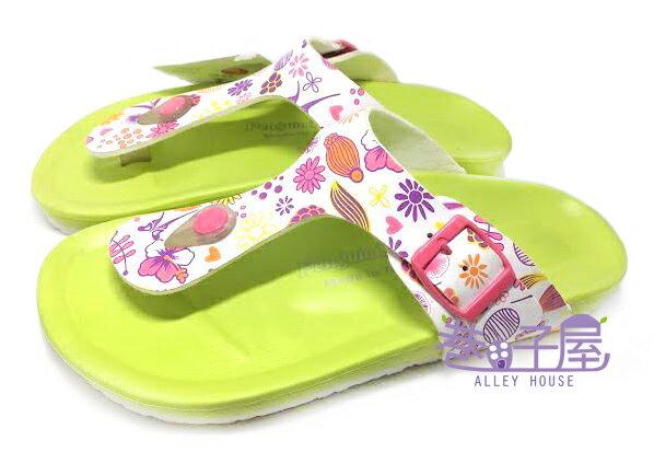 【巷子屋】繽紛花朵經典伯肯造型夾腳拖鞋 [88002] 綠 MIT台灣製造 超值價$100