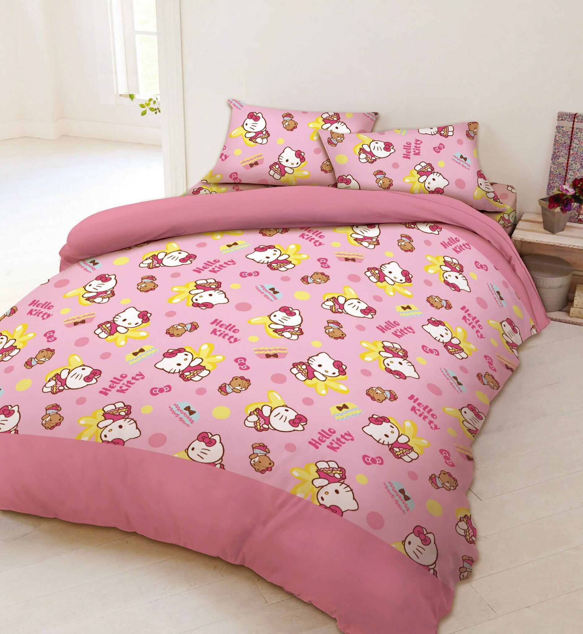 【嫁妝寢具】Hello-Kitty.雙人床包組【床包+枕套*2】台灣製造 .3件組.紅色/粉色2款任選