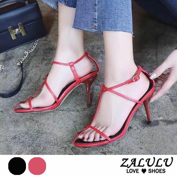 ZALULU愛鞋館7DE285極性感繞腳細帶高跟涼鞋-黑紅-35-39