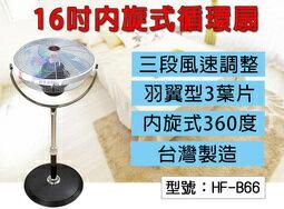 【尋寶】16吋 內旋式 3D立體環繞 360度 循環扇 電風扇 立扇 電扇 三段風速 羽翼型3葉片 台灣製 HF-B66