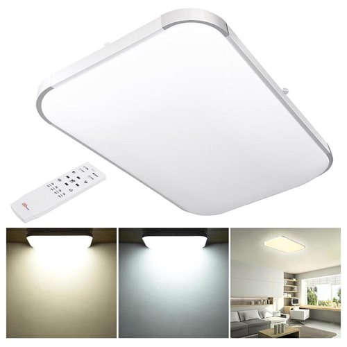 48W Modern Dimmable LED Ceiling Light Aluminum Flush Mount 5280-6240LM with  Remote Bedroom Office
