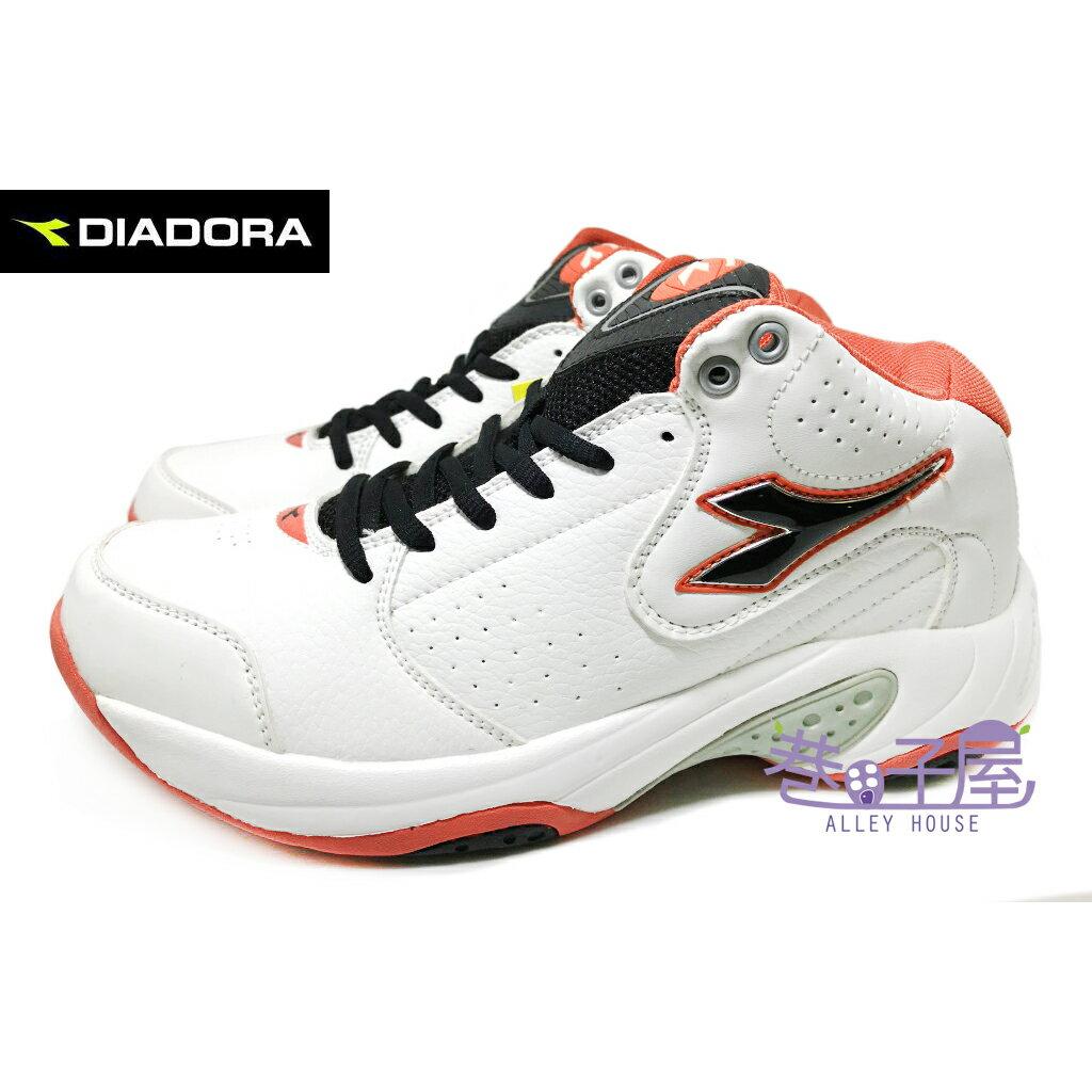 【巷子屋】義大利國寶鞋-DIADORA迪亞多納 男款亞洲寬楦高統籃球鞋 [7353] 白橘 超值價$690