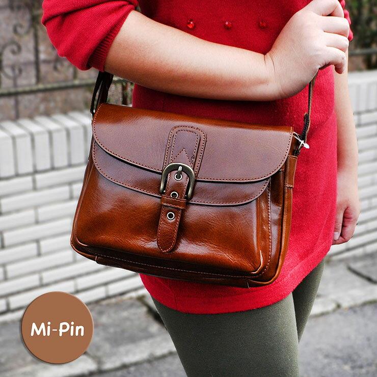 首爾設計【Mi-Pin】實用牛皮包-典雅半橢圓釦【斜背肩背兩用】