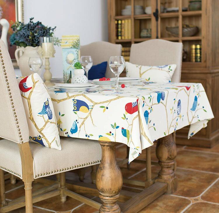 歐式鄉村小鳥貓頭鷹款式布藝桌布 餐桌布/單售
