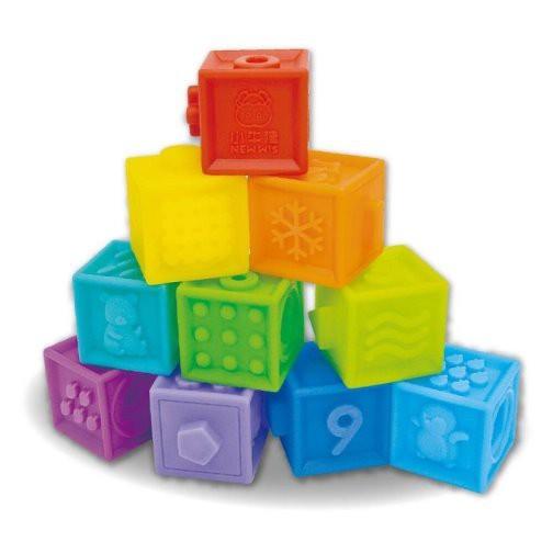 小牛津-123捏疊樂-軟質積木10入.疊疊樂.洗澡玩具.可當固齒器(麗嬰兒童玩具館)