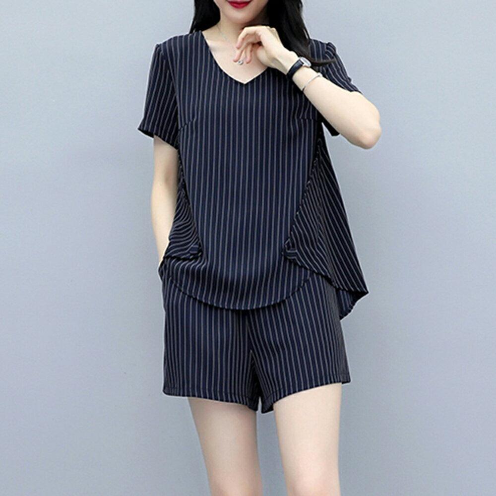 大碼條紋短褲套裝兩件套(3色L~5XL)【OREAD】 0