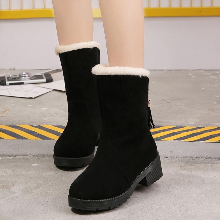伊衫風尚精品--雪靴 冬季雪地靴女厚底加絨加厚新款平底學生粗跟流蘇棉鞋保暖鞋潮
