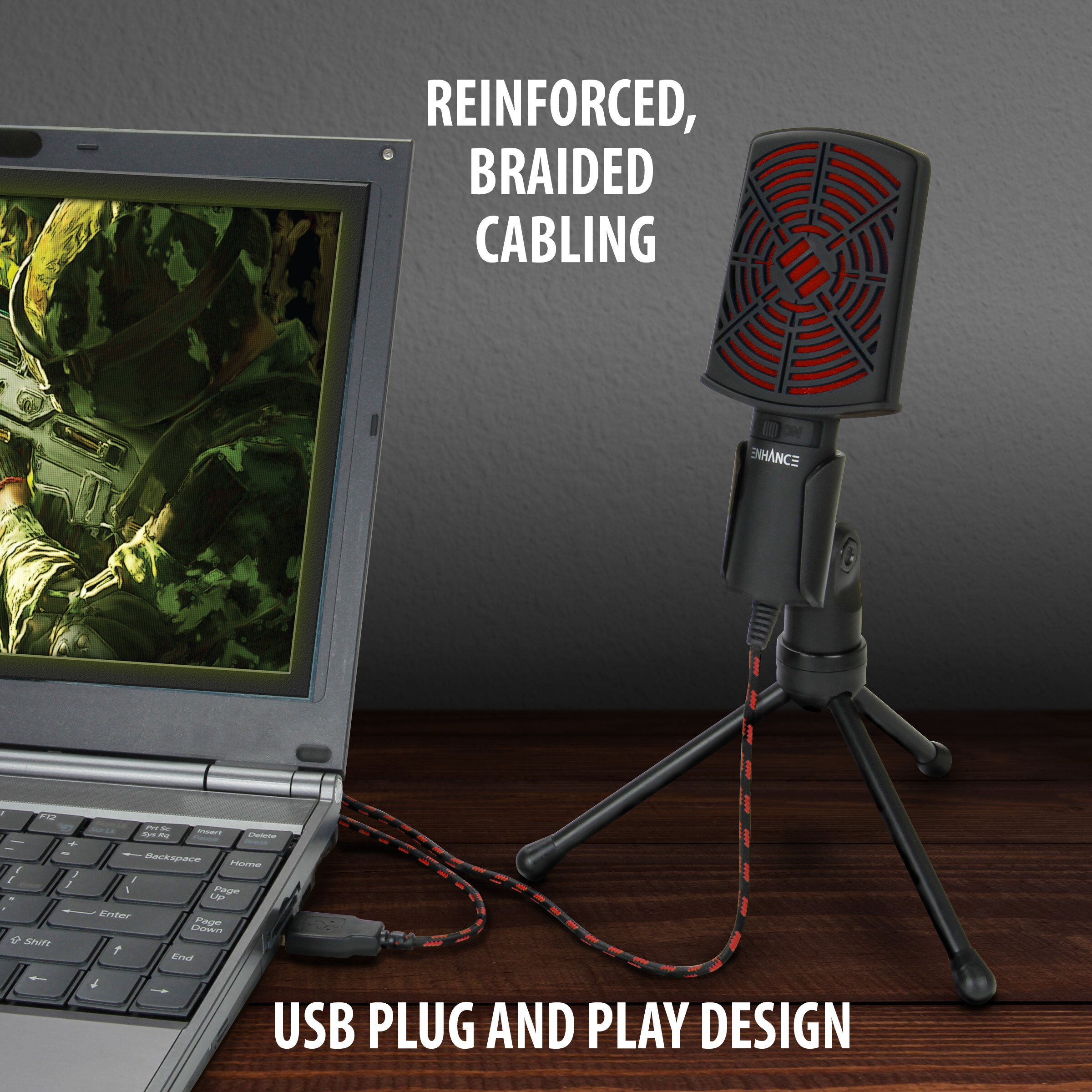 ENHANCE USB Condenser Microphone for PC / Laptop Gaming with Adjustable Desktop Stand 5