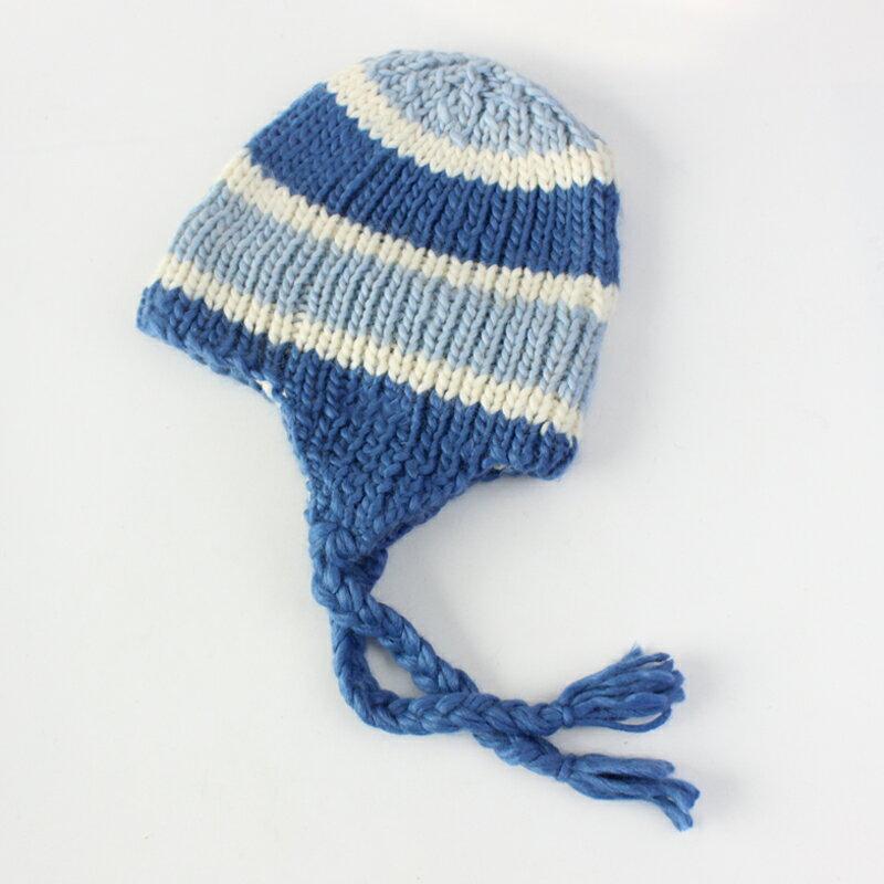 單5-14歲秋冬女孩兒童羊毛帽子純手工編織加絨護耳滑雪帽女1入