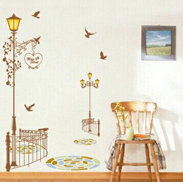 壁貼客廳臥室牆壁裝飾牆上貼紙牆貼玄關樓梯卡通可愛動物貓與路燈多款 ~no~45813795