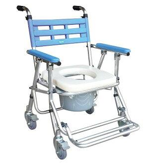 鋁合金收合式洗澡椅便器椅(有輪/高低可調) YH121-3