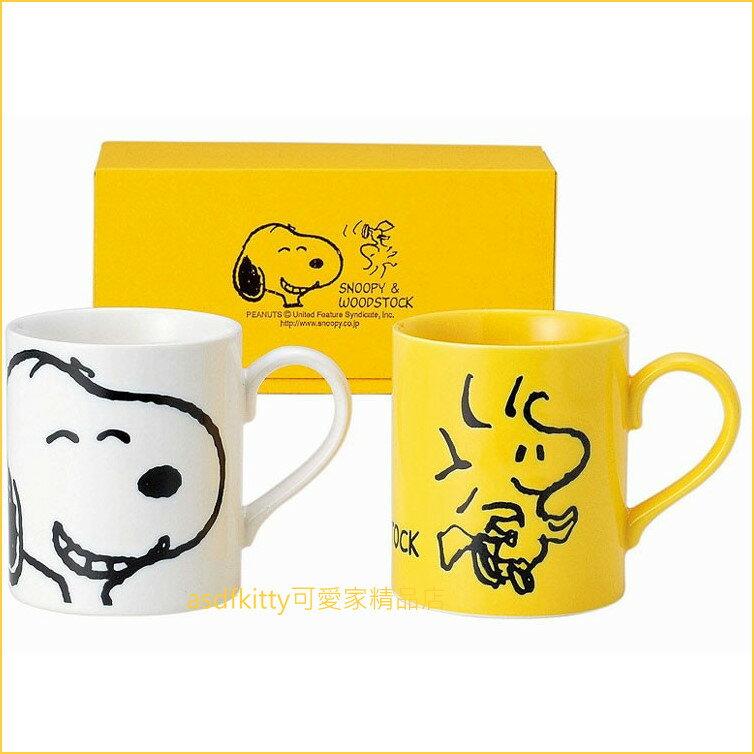 asdfkitty可愛家☆日本金正陶器 史努比與糊塗塔克陶瓷對杯/馬克杯-629700-日本製