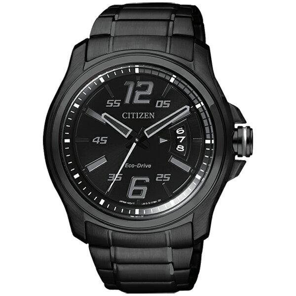 CITIZEN星辰AW1354-58E炫黑機械感光動能腕錶/黑面43mm