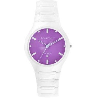 Relax Time RT-26-6馬卡龍紫陶瓷腕錶/紫面36.6mm