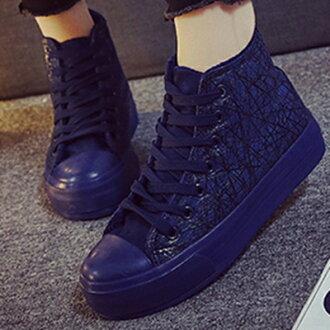 帆布鞋 休閒鞋-韓版短絨個性線條高筒平底女鞋子3色72ac33【獨家進口】【米蘭精品】