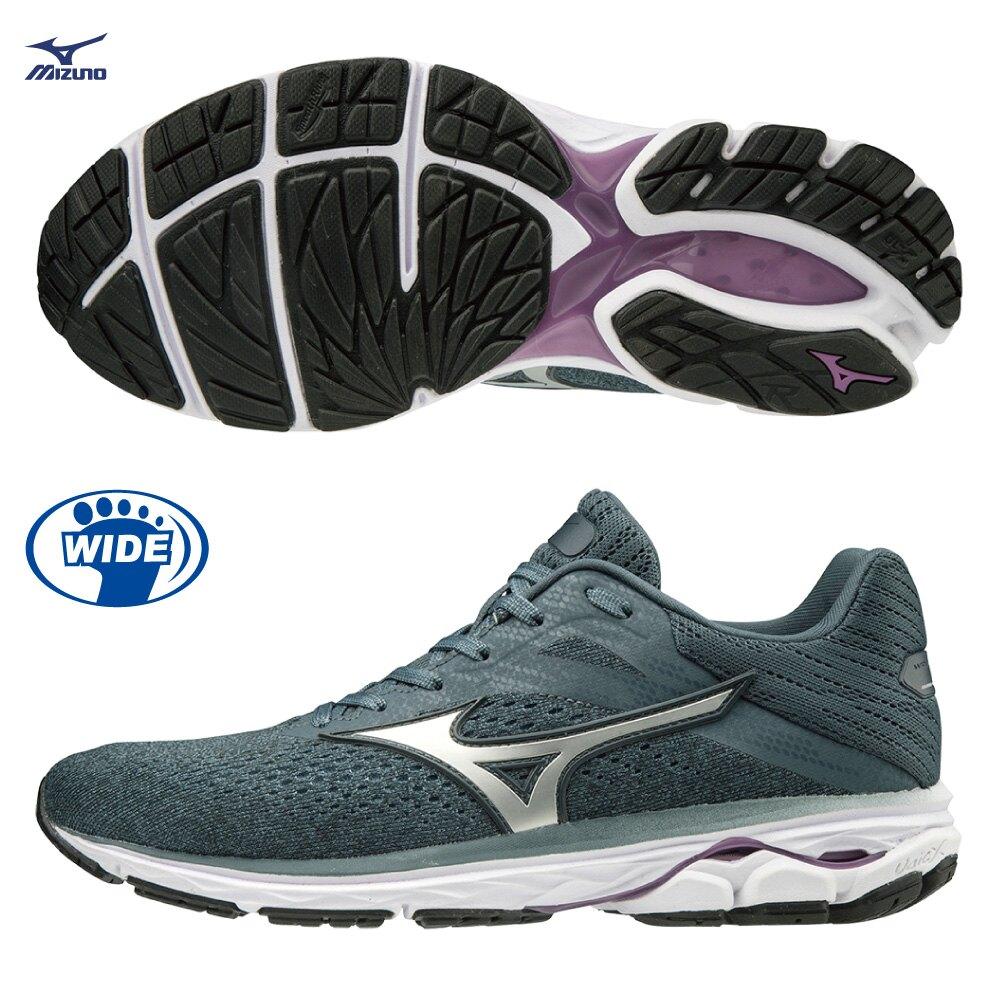 MIZUNO WAVE RIDER 23 女鞋 慢跑 路跑 3E 寬楦 避震 穩定 DROP 12mm 灰 紫【運動世界】J1GD190440