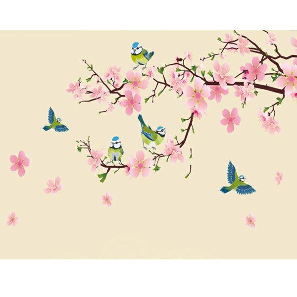 BO雜貨【YV2884-1】新款壁貼無痕創意壁貼居家裝飾室內佈置組合壁貼玻璃貼喜鵲花朵DLX917(XL)