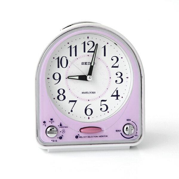 SEIKO精工音符圖案紫白色鬧鐘【NV49】柒彩年代