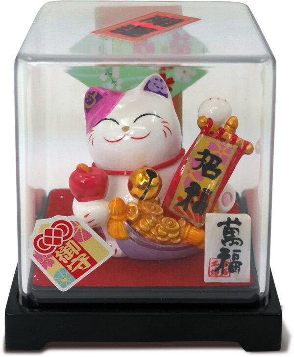 【金石工坊】招福手繪招財貓小擺飾-含壓克力盒 車上擺飾 求好運 招財 吉祥如意