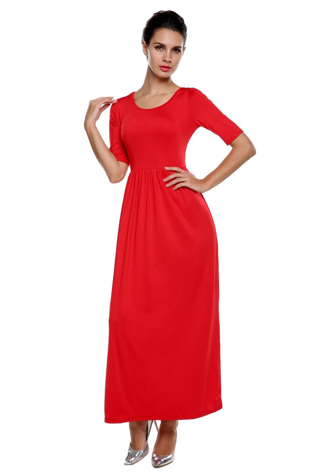 Women Medium Sleeve Solid Party Maxi Long Full Dress 0