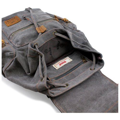 Men's Outdoor Sport Vintage Canvas Military BackBag Shoulder Travel Hiking Camping School Bag Backpack - Gray 3