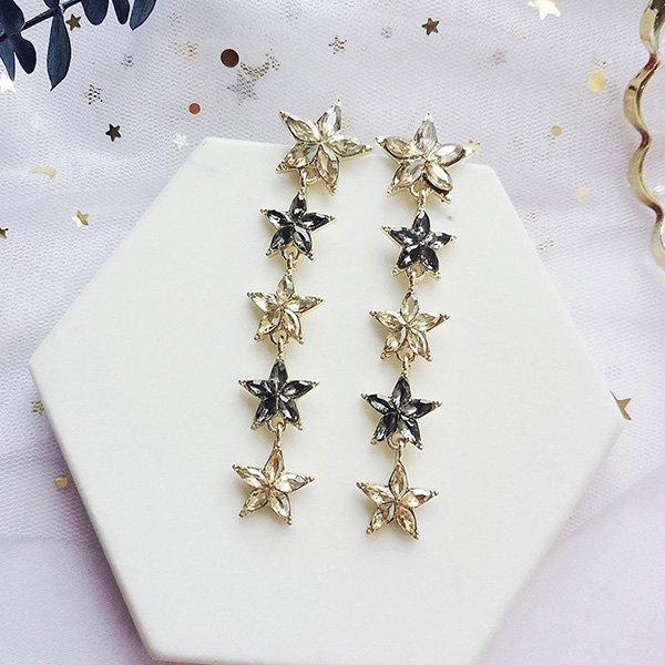 耳環星星水晶串接鑲鑽長款吊墜耳釘耳環【DD1805076】BOBI0524