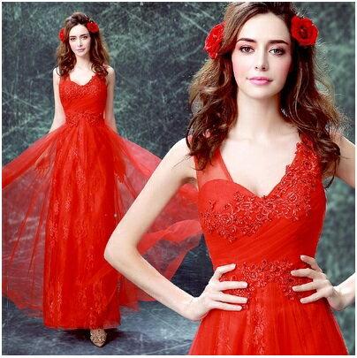 天使嫁衣【AE0228】紅色深V蕾絲收腰長禮服˙下架
