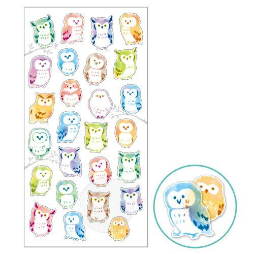 *小徑文化*日本進口 MIND WAVE 貓頭鷹貼紙系列 _ 和紙 - GEM OWL ( 78356 )