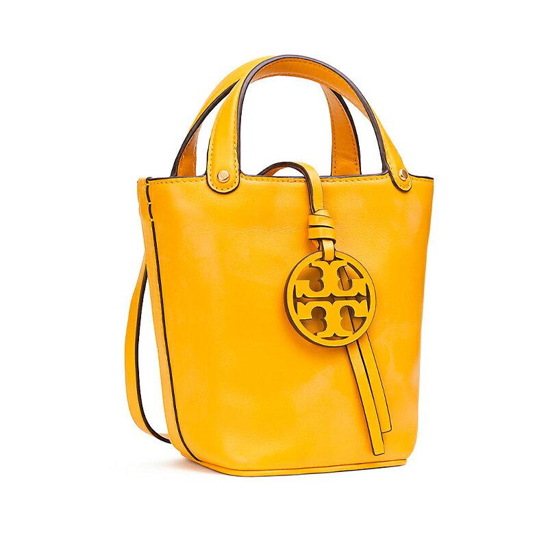 TORY BURCH 牛皮大logo吊飾單肩斜跨手提水桶包 55222