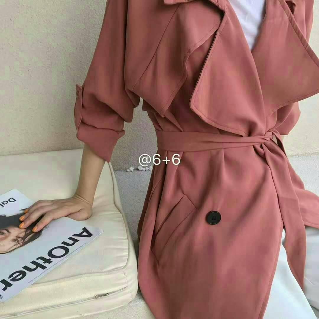 韓版純色綁帶修身顯瘦中長風衣 顏色:黑 / 磚紅 / 淺藍 尺寸:F