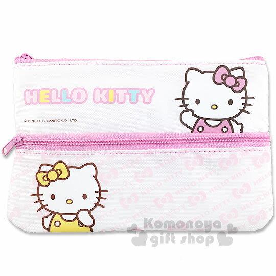 〔小禮堂〕Hello Kitty 扁平拉鍊筆袋《白粉.Mimmy.蝴蝶結.LOGO》