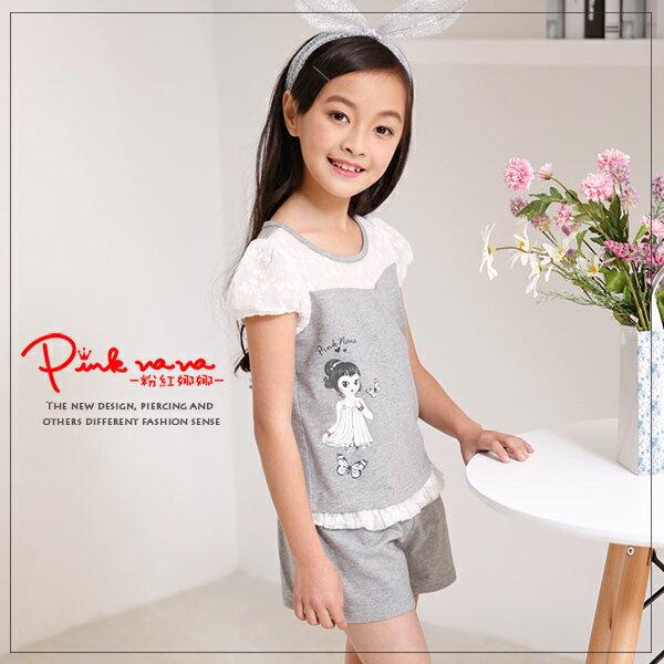 Pink Nana:PINKNANA童裝-大童兩件式灰色蕾絲套裝純棉上衣+短褲33187