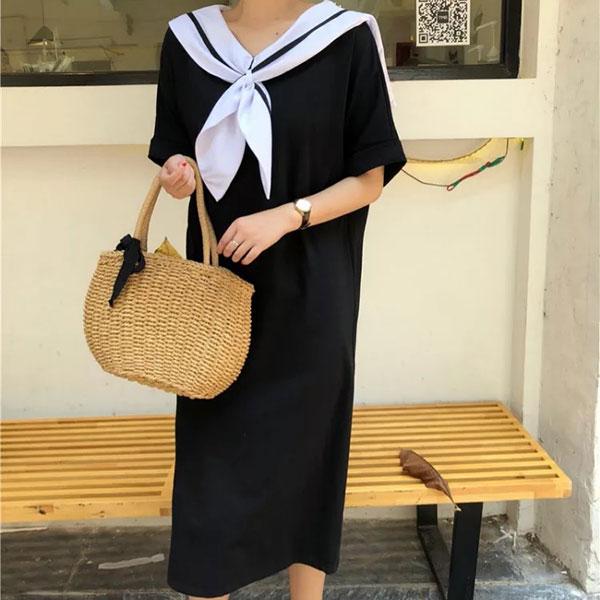 美少女水手服洋裝連衣裙T長裙短袖棉質領巾海軍風長版寬鬆顯瘦可愛休閒韓國ANNAS.