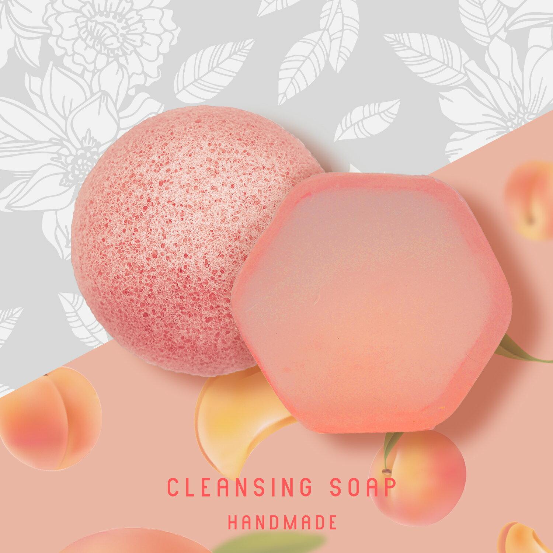 〔讓我皂顧你〕蜜桃輕顏皂+天然潔膚蒟蒻球-2入組 臉部保養 / 美容皂 / 手工洗臉皂 / 保濕 / 敏感肌可用 / 去角質 / 毛孔清潔 / 代謝老廢角質 / 環保材質 0