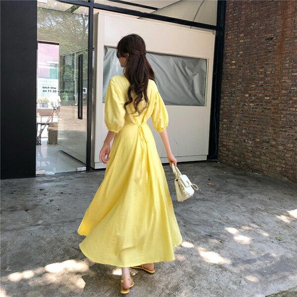 PS Mall 棉麻A字連身裙小心機修身顯瘦收腰V領長裙 【T553】 1